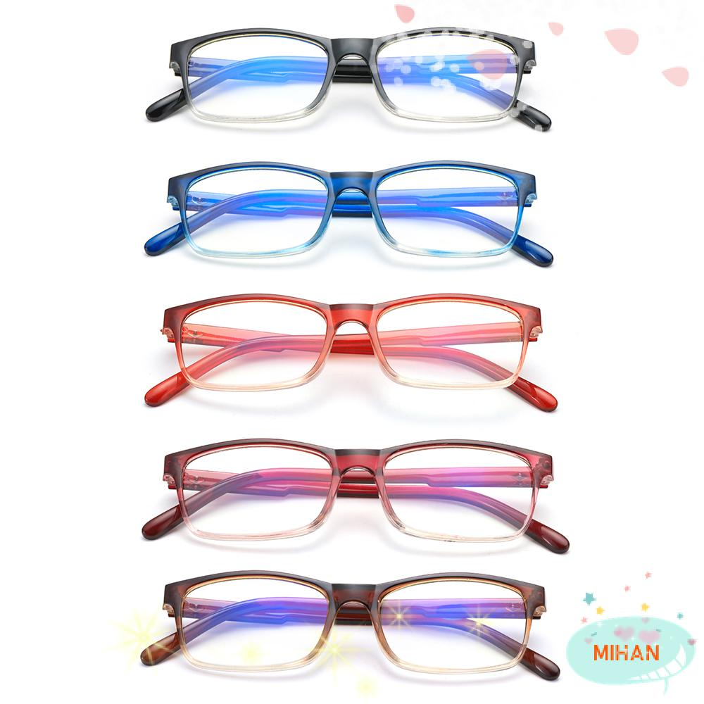 MIHAN1 Fashion Blue Light Blocking Spring Hinge Readers Gradient Reading Glasses Vision Care Diopter +1.0~4.0 Ultralight Eyewear Presbyopic Glasses/Multicolor