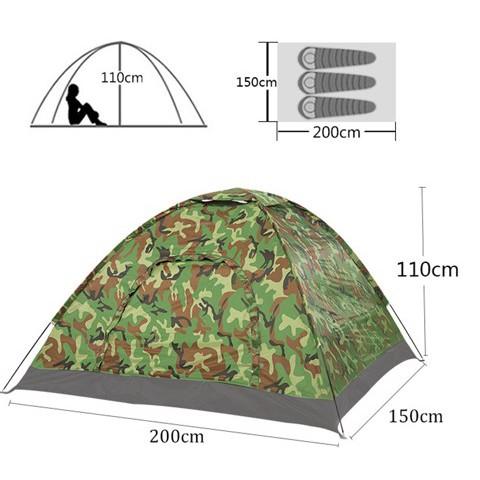 Lều Cắm Trại 2 Người Rằn Ri Bộ Đội Cực Chất, Lều Phượt 1.5mx2m