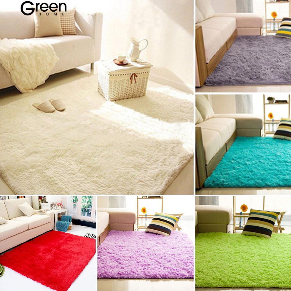Thảm nhung lông trải sàn hình chữ nhật chống trượt dành cho phòng khách/phòng ngủ