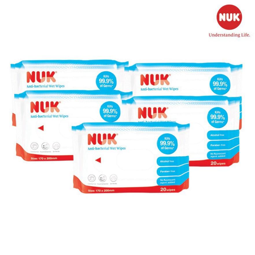 [Chính Hãng] Khăn ướt cao cấp NUK không chứa cồn (20 tờ) - Khăn giấy ướt NUK cho bé