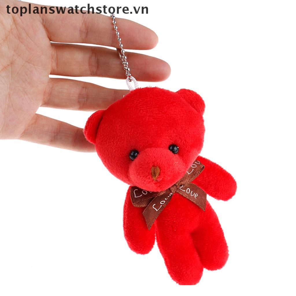 【PeaceShells11】 Mini plush bear stuffed cartoon animal cute key chain pendant soft toy VN