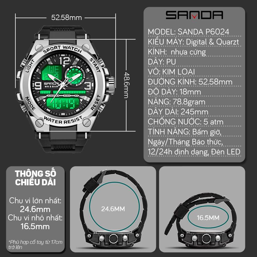 Đồng hồ Nam Sanda 6024 Chạy 2 máy - Tặng hộp +Pin