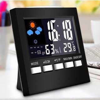Đồng hồ để bàn có nhiệt kế và độ ẩm, đồng hồ báo thức có cảm biến âm thanh siêu nhạy - DH511