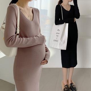 Đầm Len Cổ Chữ V Dáng Ôm Thiết Kế Đơn Giản Thời Trang Cho Mẹ Bầu
