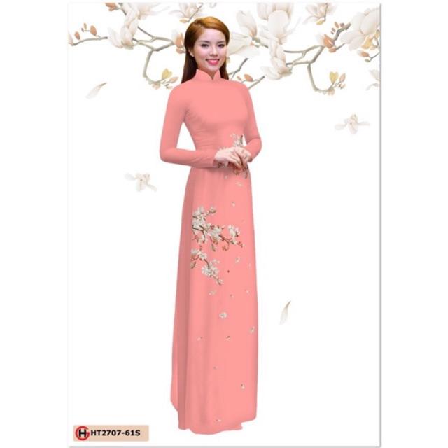 Vải áo dài hoa đơn giản