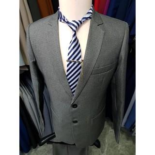 Yêu ThíchBộ vest nam màu xám đậm kiểu 2 nút trung niên chất vải dày mịn (áo vest+quần+cà vạt+kẹp)