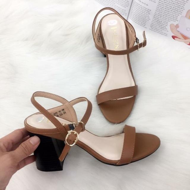 Giày sandal cao gót 7cm, chất da
