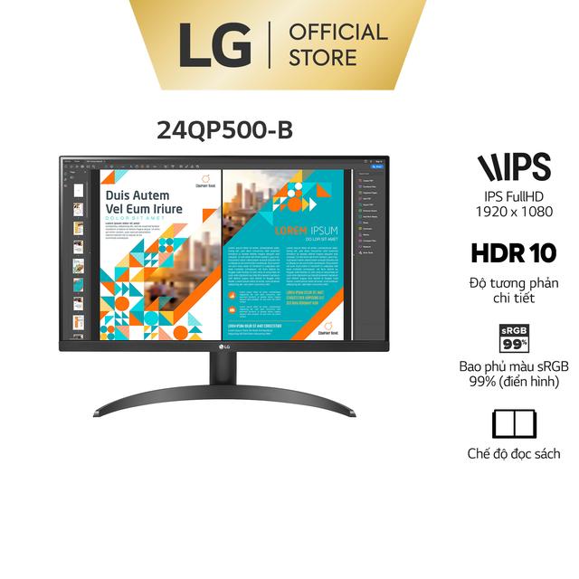 """Màn Hình LG 24QP500-B 23.8"""" IPS 75Hz QHD AMD FreeSync™ Hãng"""