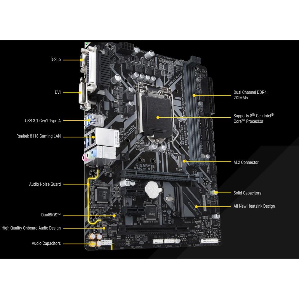 Bo mạch chính/ Mainboard Gigabyte B360M-D3V | Shopee Việt Nam