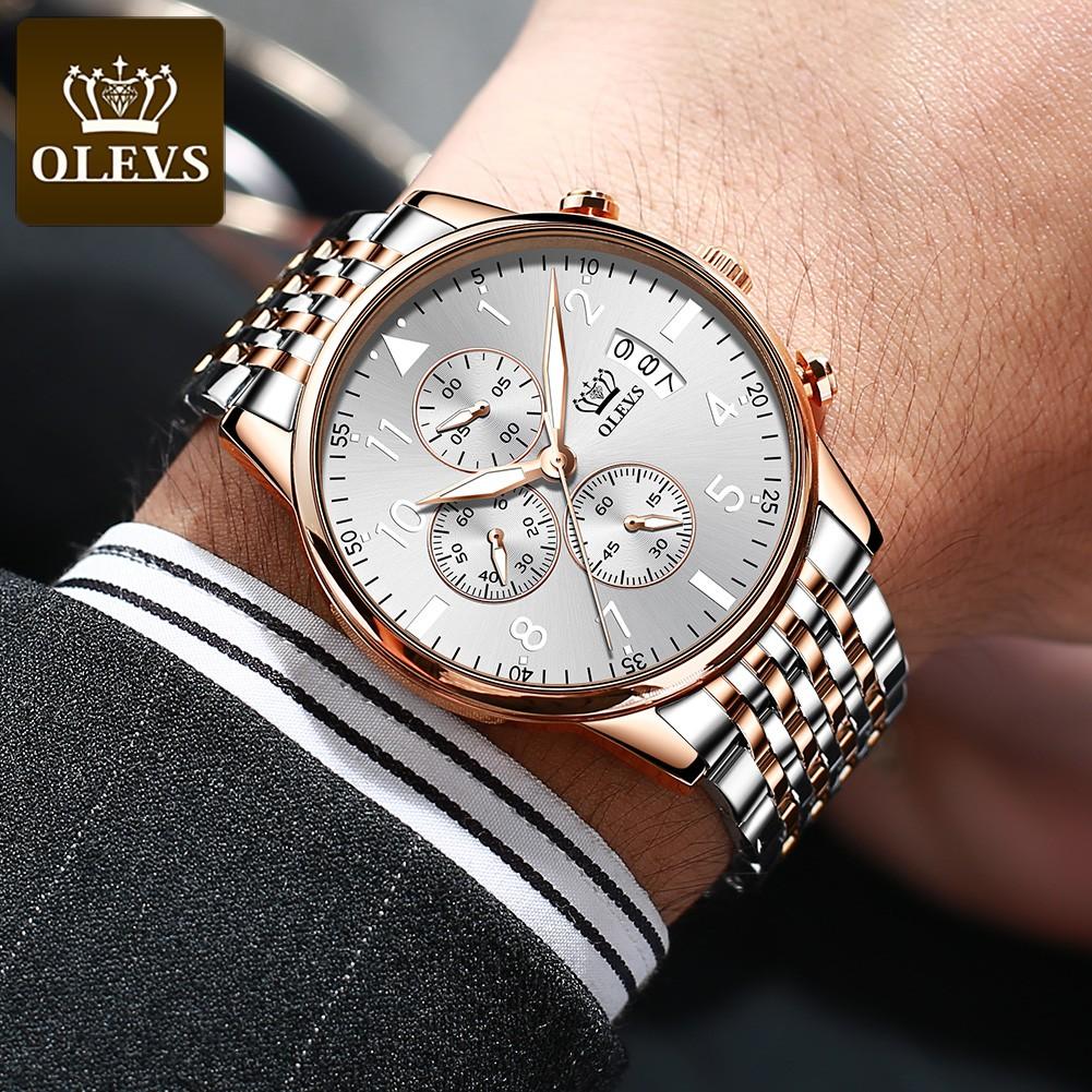 Đồng hồ OLEVS 2869 chính hãng dây đeo bằng thép chống nước có chức năng chronograph cao cấp cho nam