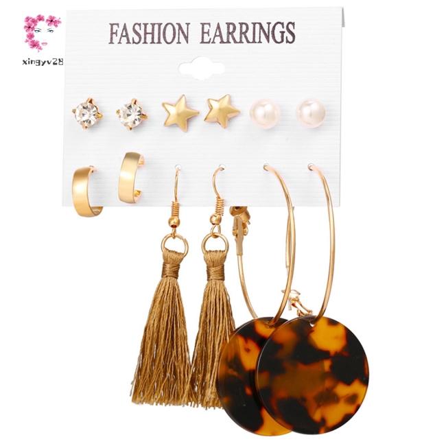 6pairs/set Women Stylish Diamond Star Large Circle Tassel Earrings Set