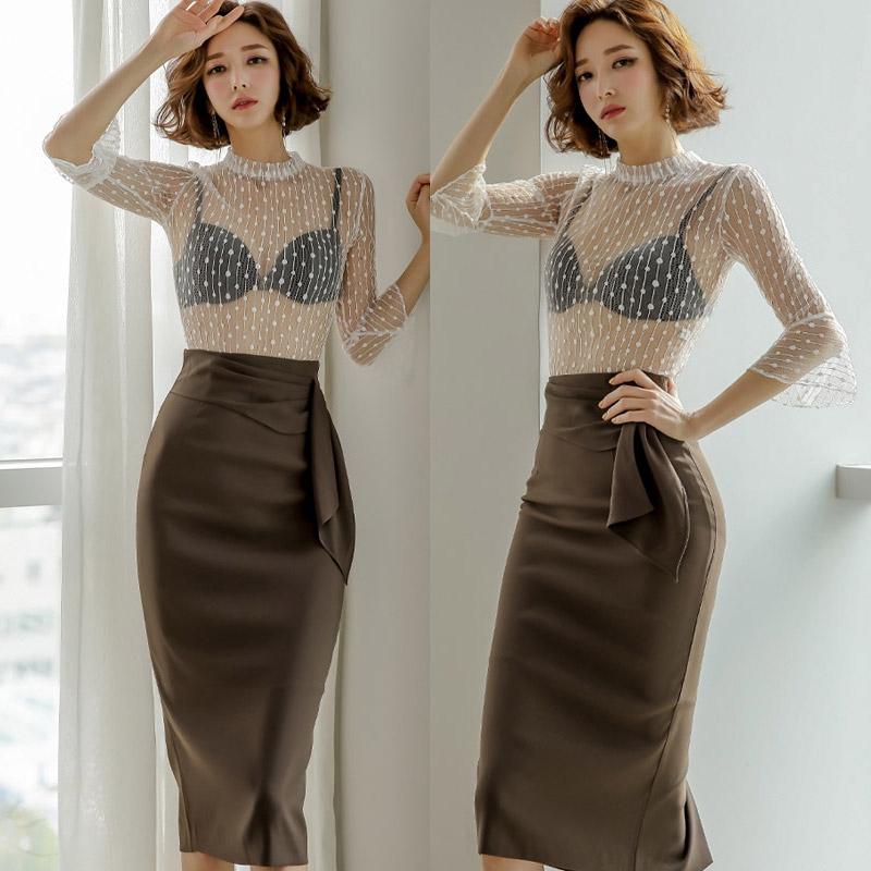 4308465501 - Set đồ dự tiệc áo ren tay dài+chân váy ôm dài qua gối quyến rũ hợp thời trang cho bạn gái