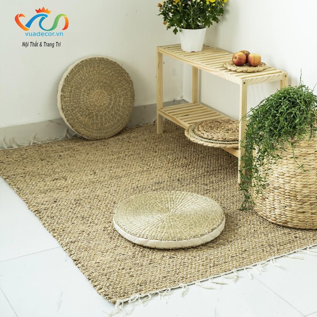 Thảm cói tròn ngồi có đệm Vuadecor kích thước ĐK45cm