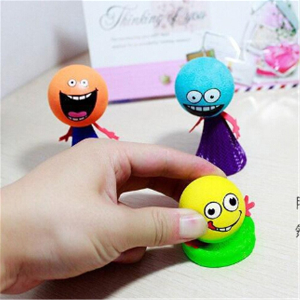 5Pcs Kids Bounce Ball Toys Educational Expressions Push Down Hip Hop Jump Dolls