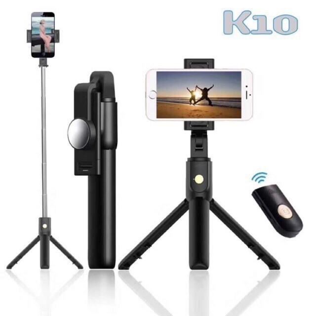 Gậy Chụp Ảnh Bluetooth Kiêm Tripod K10 Cho Điện Thoại, Gậy Chụp Ảnh, Gậy Selfie, Gậy Tự Sướng Xoay 3