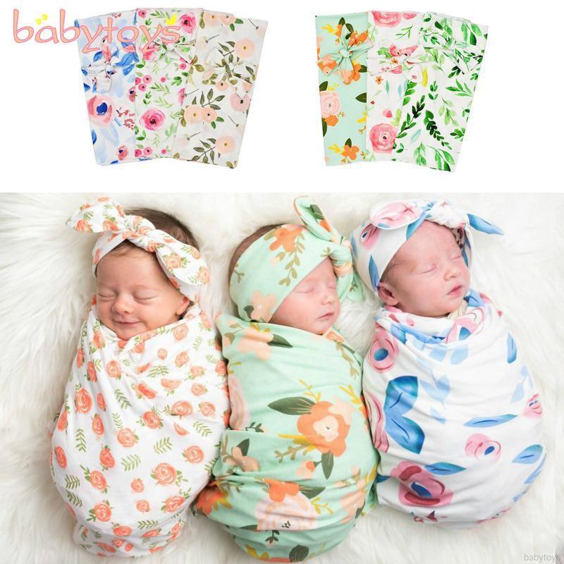 Set chăn quấn giữ ấm và băng đô in họa tiết xinh xắn dành cho các bé