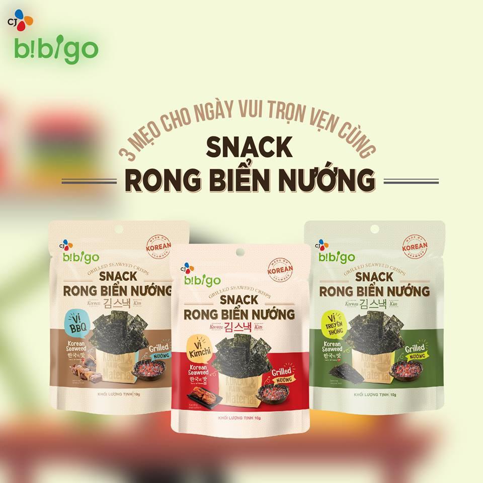 COMBO 12 bịch Snack rong biển NƯỚNG Bibigo 10gram