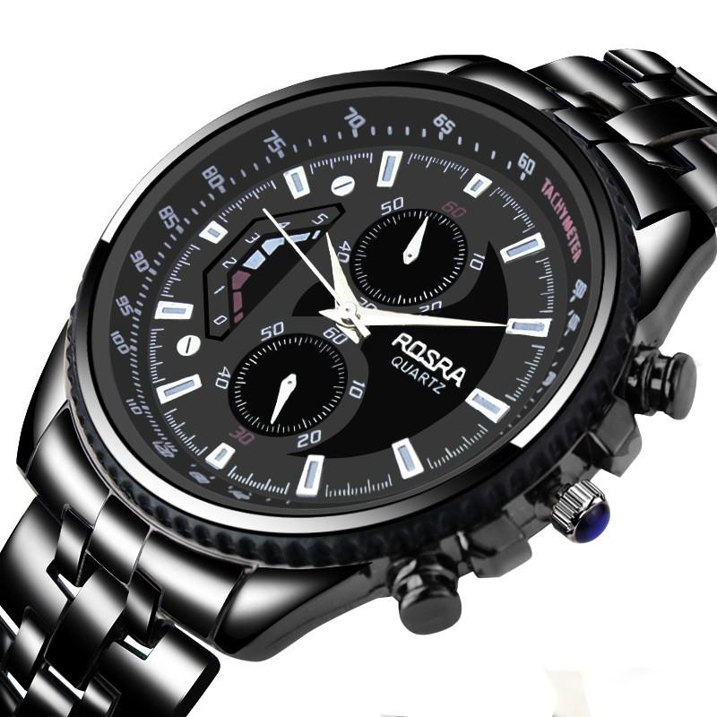 Đồng hồ nam Rosra Japan JM6655 full đen dây thép không gỉ + Tặng kèm pin đồng hồ