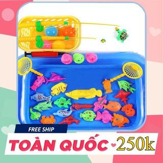[ SALE GIÁ GỐC ] Bộ đồ chơi câu cá kèm bể phao cho bé ( 21 con vật)