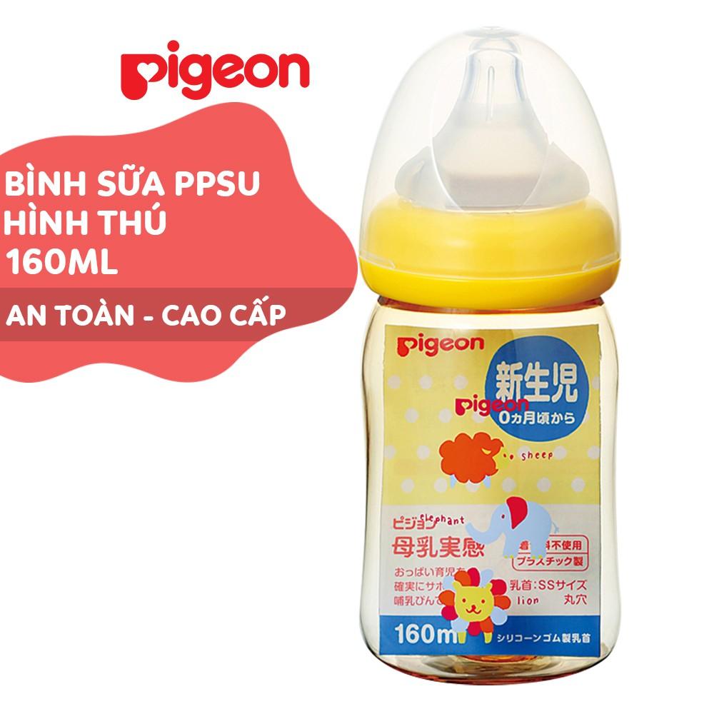 Bình sữa cổ rộng PPSU Plus Hình thú Pigeon 160ml/240ml