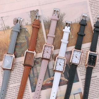 Đồng hồ nữ Jigin hàng chính hãng mặt chữ nhật dây da mềm mỏng ôm tay