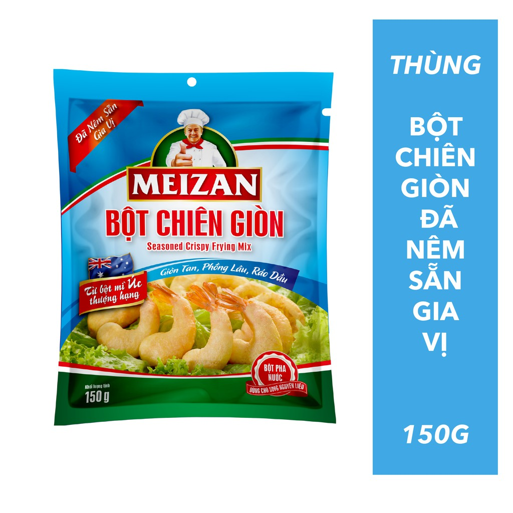 Thùng 24 gói Bột Chiên giòn Meizan đã nên sẵn gia vị