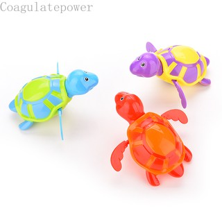 Coagulatepower 1 X Cute Bathing Toy Clockwork Wind Up Plastic Swimming Turtle For Baby Kids