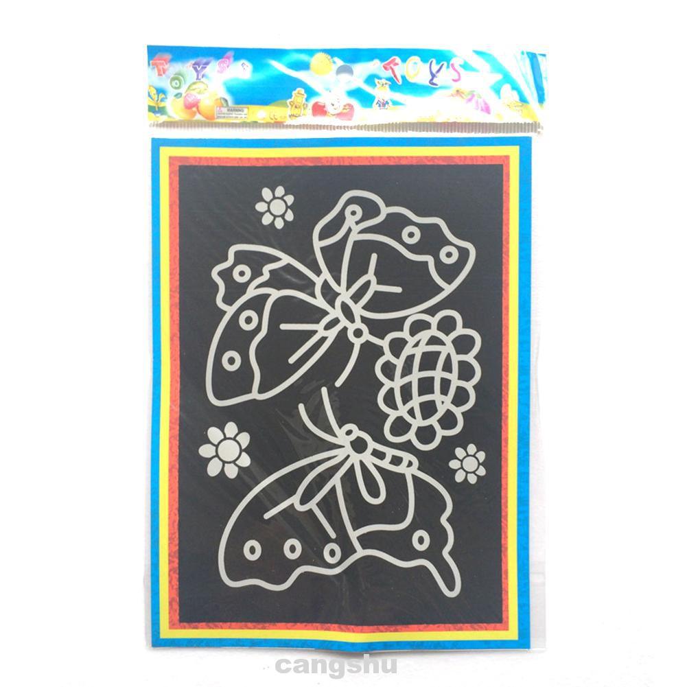 10 Pcs Paper Kids Scratch Painting Drawing Art Magic Stick Colorful Craft