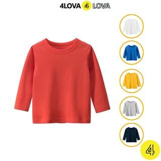 Áo thun dài tay 4LOVA cổ tròn chất cotton an toàn, bền, đẹp cho bé trai