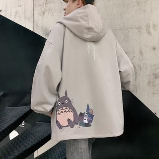High quality Men's Hooded Jacket Men Korean Fashion Hong Kong Style Trendy Jacket Loose Jacket Cartoon My Neighbor Totoro Print Men and Women