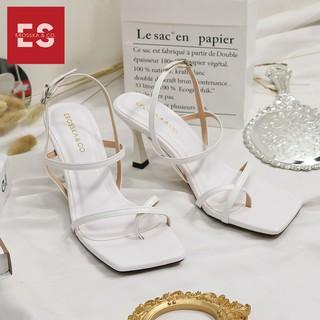 Hình ảnh [Mã FASHIONMALLT4 giảm tới 30K đơn 150K] Giày cao gót Erosska phối dây xỏ ngón cao 7cm màu trắng _ BM004-6