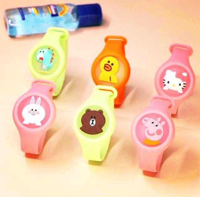 Đồ chơi đồng hồ đeo tay chống muỗi có đèn LED nháy hình thú dễ thương cho bé