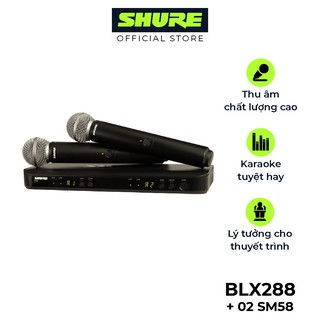 Micro không dây Shure BLX288A/SM58 nổi tiếng - Hàng chính hãng - Micro chuyên dùng cho Karaoke, biểu diễn chuyên nghiệp