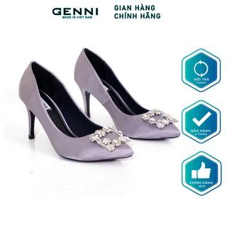 Giày cao gót lụa gắn đá 7P GE461 - Genni