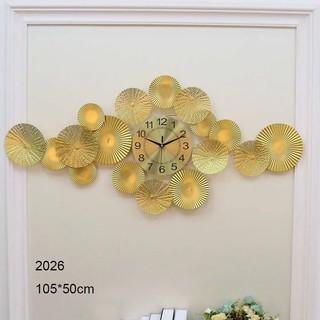 đồng  hồ treo tường trang trí nghệ thuật DECOR Lá Sen Vàng