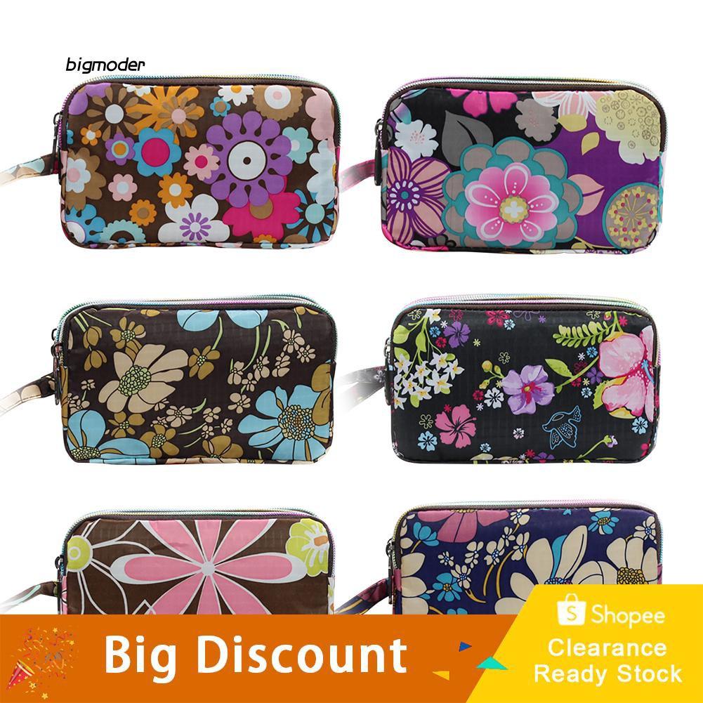 BGMD_Women Floral Print Cloth Wristlet Bag Coin Purse Zipper Wallet Cell Phone Pouch