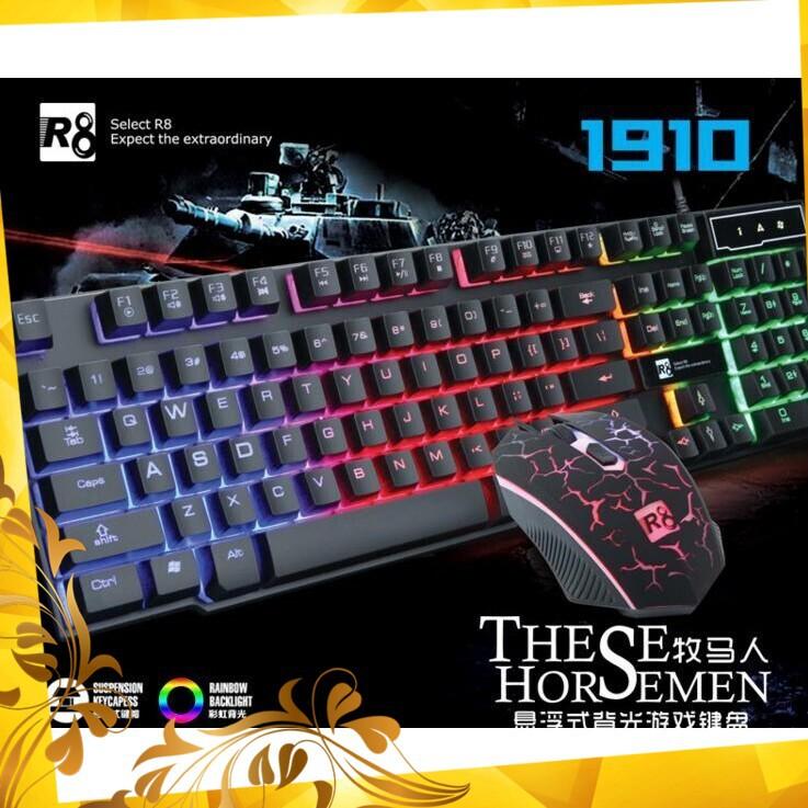 [Quá Rẻ] Combo bàn phím giả cơ + chuột R8 1910 (Đen) Giá chỉ 179.400₫