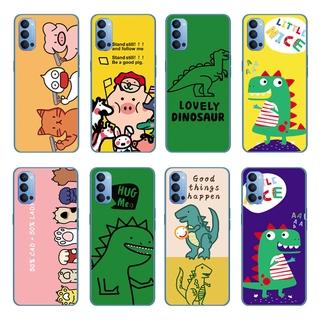 Cartoon Cute Dinosaur Silicone Back Cover OPPO Reno 5 Pro 5G/Find X3 Pro A55 A93 A15 A15S Soft TPU Case Shockproof