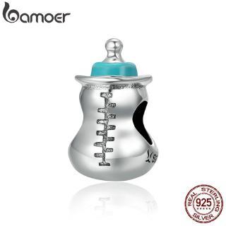 Hạt Xâu Bamoer SCC361 Mạ Bạc Hình Bình Sữa Dễ Thương Dùng Trang Trí Dây Chuyền / Vòng Tay