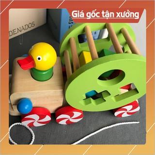 Đồ chơi Xe kéo con vịt thả hình khối – Phát triển tư duy cho bé