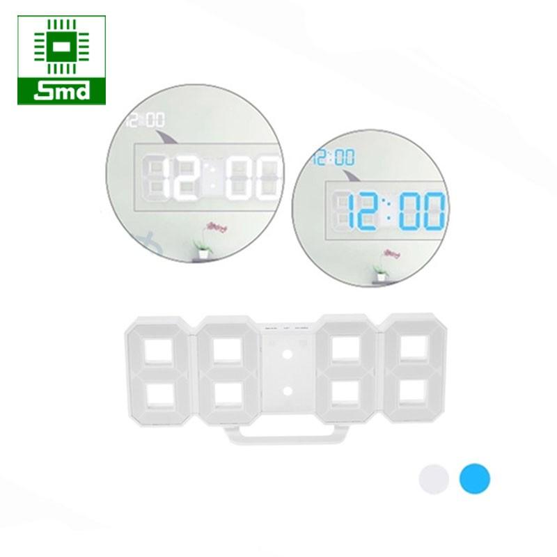 Đồng hồ led 3D treo tường - Led trắng, xanh dương