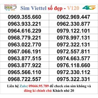 Sim Viettel V120 đầu 09 số đẹp giá rẻ 20