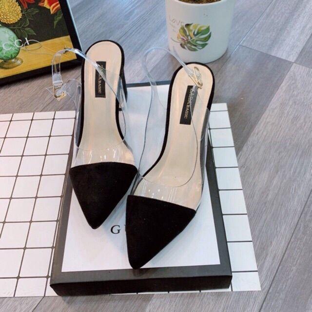 Sandal cao gót quai trong pha đen
