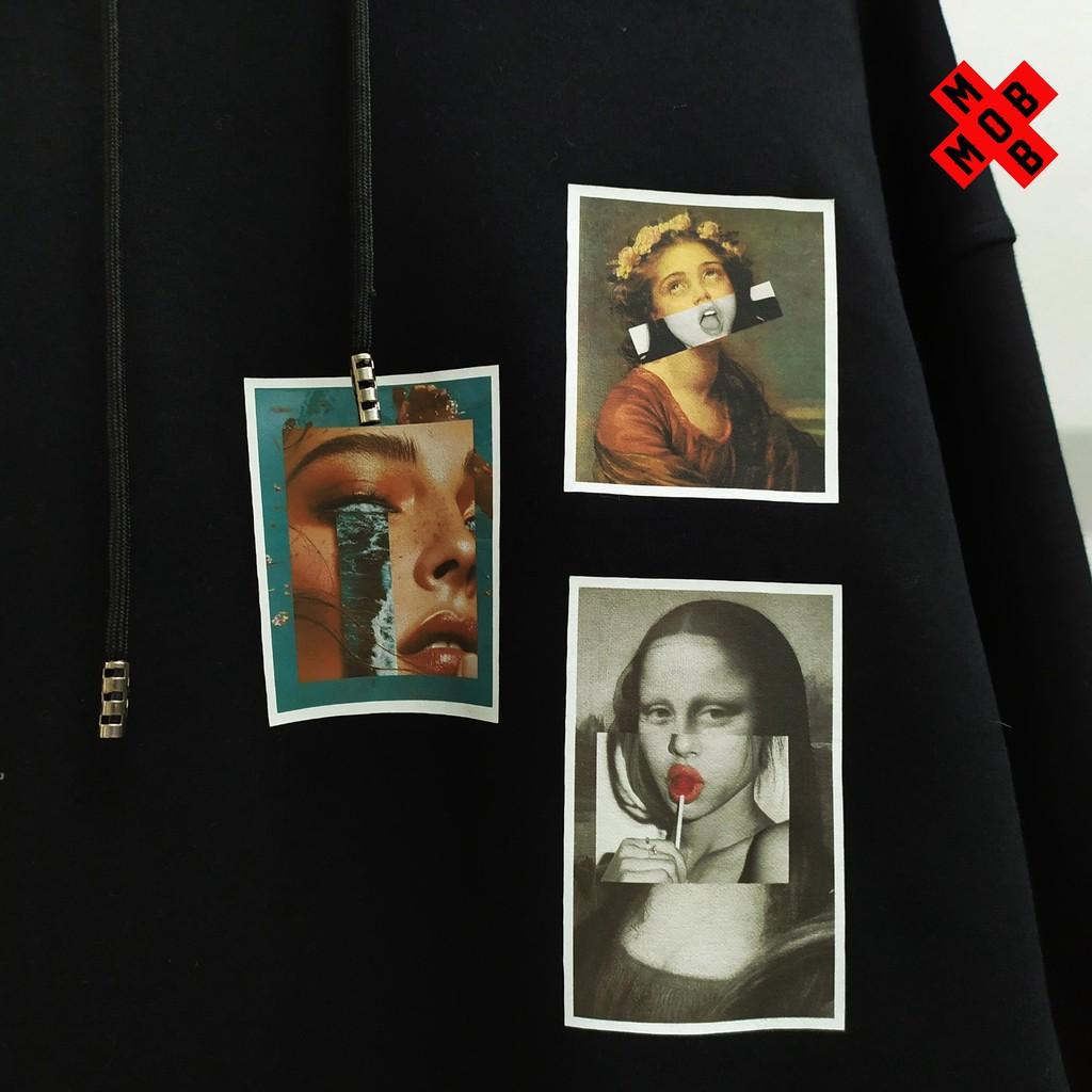 Áo Hoodie Form Rộng Nam Nữ Postcard