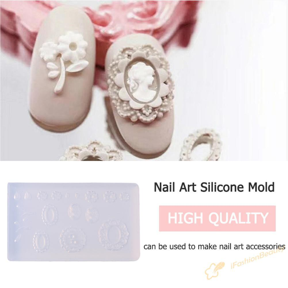 love beauty-3D Pattern DIY Nail Art Silicone Mold UV Gel Nail Template Form Mould Decor