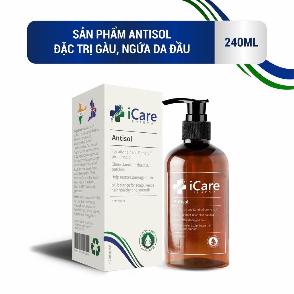 [Bán Chạy] Dầu gội Trị Nấm Da Đầu,Ngăn Rụng Tóc Dược Liệu Antisol Thương Hiệu Dược iCare Pharma 240ml