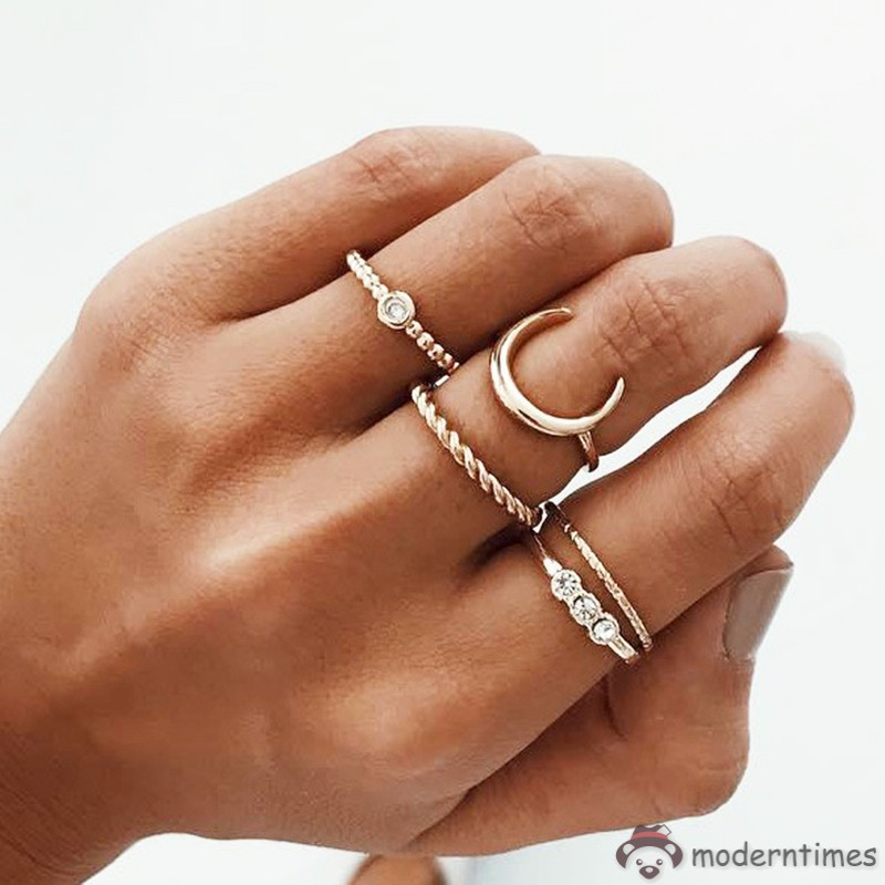 5 Pcs Stackable Ring Moon Charm Twist Rings Women Vintage Boho Jewelry