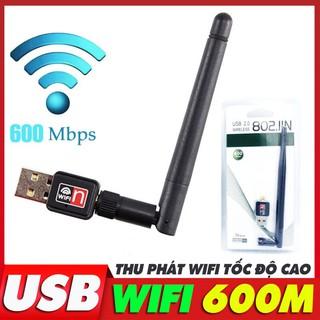 USB Thu Phát Wifi Cho PC Máy Tính Bàn Laptop, Tốc Độ 600mbps, USB card mạng không dây thu phát wifi, hub router wifi
