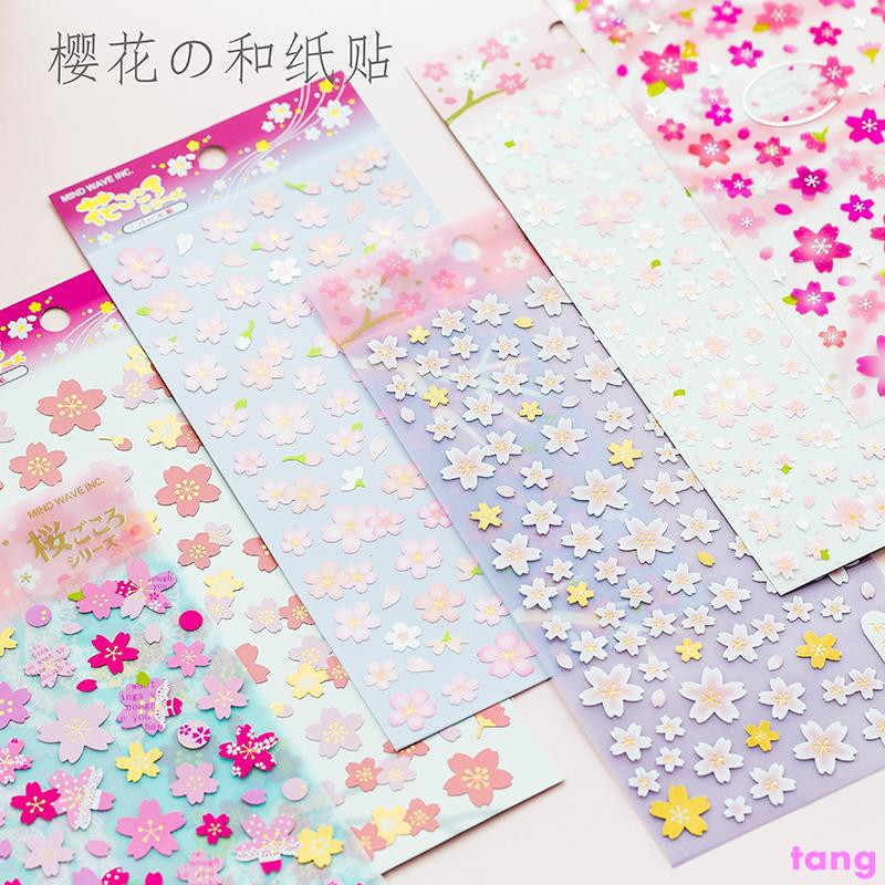 Japanese style fresh and lovely cherry blossom sticker Hand account tool DIY mat