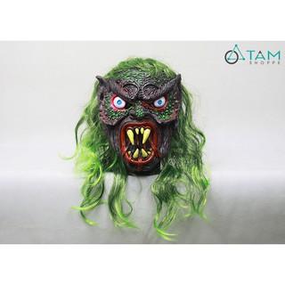 Mặt nạ cao su Quỷ tóc xanh 4 răng nanh HLW-MN-54 TTTM